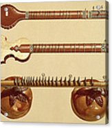 Two Sitars And A Rudra Vina, Indian Acrylic Print by Alfred James Hipkins