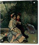 Two Spanish Women Acrylic Print by Ricardo de Madrazo y Garreta