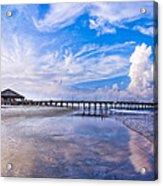 Tybee Island Pier On A Beautiful Afternoon Acrylic Print by Mark E Tisdale