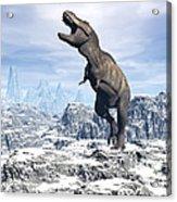 Tyrannosaurus Rex Dinosaur In A Snowy Acrylic Print by Elena Duvernay