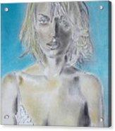 Uma Thurman Portrait Acrylic Print by Dan Twyman