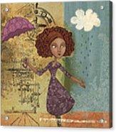 Umbrella Girl Acrylic Print by Karyn Lewis Bonfiglio
