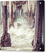 Under The Pier Vintage California Picture Acrylic Print by Paul Velgos