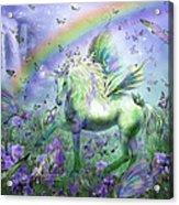 Unicorn Of The Butterflies Acrylic Print by Carol Cavalaris