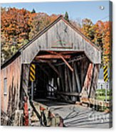 Union Village Covered Bridge Thetford Vermont Acrylic Print by Edward Fielding