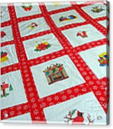 Unique Quilt With Christmas Season Images Acrylic Print by Barbara Griffin