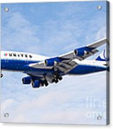 United Airlines Boeing 747 Airplane Landing Acrylic Print by Paul Velgos
