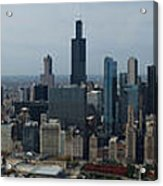 Us Cellular And Wrigley Field Chicago Baseball Parks 3 Panel Composite 02 Acrylic Print by Thomas Woolworth