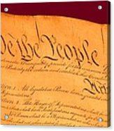 Us Constitution Closeup Violet Red Bacjground Acrylic Print by L Brown