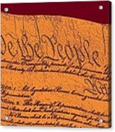 Us Constitution Closeup Sculpture Violet Red Background Acrylic Print by L Brown