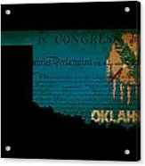 Usa American Oklahoma State Map Outline With Grunge Effect Flag  Acrylic Print by Matthew Gibson