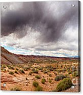 Valley Of Fire With Dramatic Sky Acrylic Print by Jane Rix