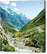 Valley Of River Ganga In Himalyas Mountain Acrylic Print by Raimond Klavins