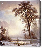 Valley Of The Yosemite Snow Fall Acrylic Print by Albert Bierstadt