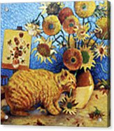 Van Gogh's Bad Cat Acrylic Print by Eve Riser Roberts