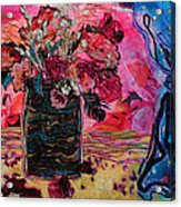 Vase And Blue Curtain Acrylic Print by Diane Fine