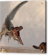 Velociraptor Chasing Small Mammal Acrylic Print by Daniel Eskridge