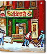 Verdun Hockey Game Corner Landmark Restaurant Depanneur Pierrette Patate Winter Montreal City Scen Acrylic Print by Carole Spandau