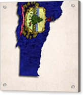 Vermont Map Art With Flag Design Acrylic Print by World Art Prints And Designs