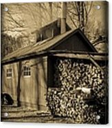 Vermont Maple Sugar Shack Circa 1954 Acrylic Print by Edward Fielding