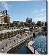 Victoria Harbour With Empress Hotel Acrylic Print by Carol Groenen