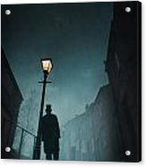 Victorian Man With Top Hat Leaning On A Street Light Acrylic Print by Lee Avison