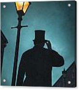 Victorian Man With Top Hat Under A Gas Lamp Acrylic Print by Lee Avison