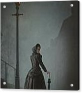 Victorian Woman Under Streetlamp In Fog Acrylic Print by Lee Avison