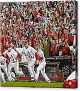 Victory - St Louis Cardinals Win The World Series Title - Friday Oct 28th 2011 Acrylic Print by Dan Haraga