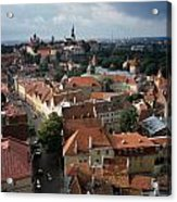 View From Above Of Old Town Tallinn  Estonia Acrylic Print by Cliff Wassmann