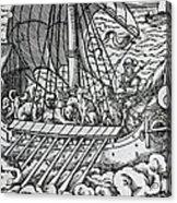 Viking Ship Acrylic Print by German School