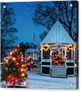 Village Green Holiday Greetings- New Milford Ct - Acrylic Print by Thomas Schoeller