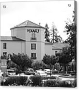 Vineyard Creek Hyatt Hotel Santa Rosa California 5d25866 Bw Acrylic Print by Wingsdomain Art and Photography