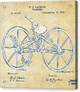 Vintage 1869 Velocipede Bicycle Patent Artwork Acrylic Print by Nikki Marie Smith