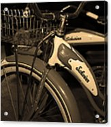 Vintage 1941 Boys And 1946 Girls Bicycle 5d25760 Vertical Sepia1 Acrylic Print by Wingsdomain Art and Photography