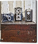 Vintage Cameras At Warehouse 54 Acrylic Print by Toni Hopper