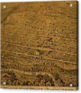 Vintage Fort Worth Texas In 1876 City Map On Worn Canvas Acrylic Print by Design Turnpike