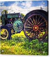 Vintage John Deere Acrylic Print by Debra and Dave Vanderlaan