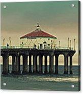 Vintage Manhattan Beach Pier Acrylic Print by Kim Hojnacki