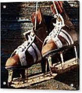 Vintage Pair Of Mens  Ice Skates Hanging On A Wooden Wall With C Acrylic Print by Mikhail Olykaynen