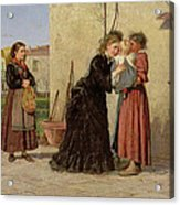Visiting The Wet Nurse Acrylic Print by Silvestro Lega