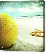 Volleyball In The Sand With Sandals Acrylic Print by Sandra Cunningham