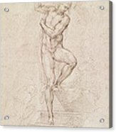 W53r The Risen Christ Study For The Fresco Of The Last Judgement In The Sistine Chapel Vatican Acrylic Print by Michelangelo Buonarroti