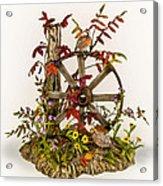 Wagon Wheel And Quail Acrylic Print by Mary Mcgrath