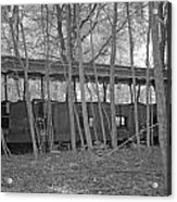 Wagons In The Forest In Infrared Light In Netherlands Acrylic Print by Ronald Jansen