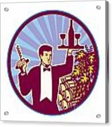 Waiter Serving Wine Glass Bottle Retro Acrylic Print by Aloysius Patrimonio