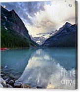 Waiting For Sunrise At Lake Louise Acrylic Print by Teresa Zieba