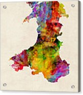 Wales Watercolor Map Acrylic Print by Michael Tompsett