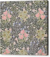 Wallpaper Design With Tulips Daisies And Honeysuckle  Acrylic Print by William Morris