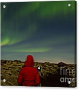 Watching The Northern Lights Acrylic Print by Andres Leon